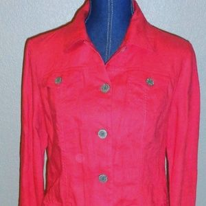 Chico's Red 100% Linen Button Front Jacket Top